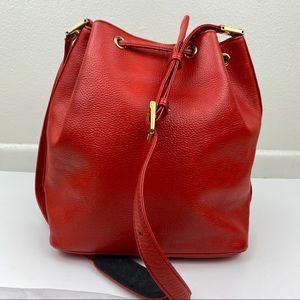 MCM Bags - MCM Red Leather Crossbody Bucket Bag
